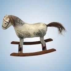 German Doll Size Wood Papier Mache Rocking Horse Antique Toy