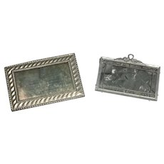 2 Antique Miniature Dollhouse Doll Metal Soft Metal Picture Frame Mirror