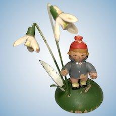 Tiny Wood Erzgebirge Boy Doll German Miniature Figure Flowers
