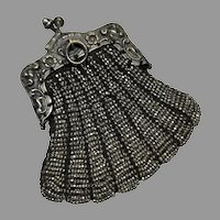 Fashion Doll Chatelaine Purse Antique Bostonia Steel Beaded