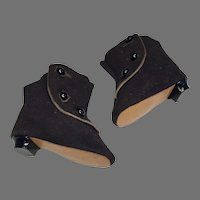 Side Button Ankle Boot Heels Suede Antique Doll Shoes