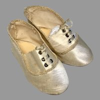 Antique German Silk Doll Shoes