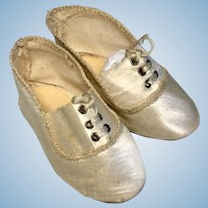 Antique German Silk Doll Shoes