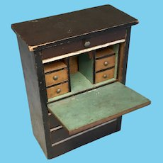 Dollhouse Doll Miniature Wood Drop Front Secretary Desk Antique German Biedermeier