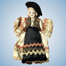 "Tiny 3"" All Bisque German Doll All Original Clothes"