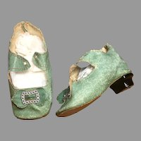Green Antique Doll Shoes Heels Buckles