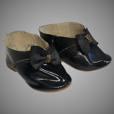 Fun German Antique Doll Shoes Bow