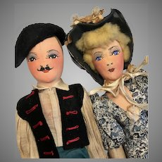 2 German Cloth Doll Couple All Original Vintage Tagged