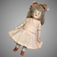 "4.5"" German All Bisque Antique Dollhouse Doll"
