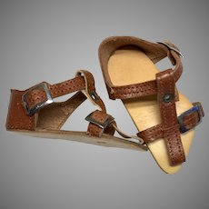 Antique Leather German Doll Sandals Shoes Buckles