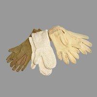 3 Pair Vintage Doll Child Gloves Mittens