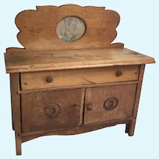 Antique Wood Doll Furniture Sideboard Dining Buffet Cabinet