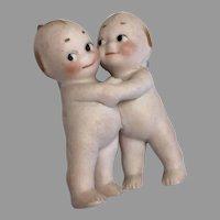 German All Bisque Kewpie Doll Pair Hugging 2 Antique Huggers Miniature Dollhouse Size