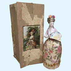 Pin Cushion and Doll Half Doll with Fan Original Box