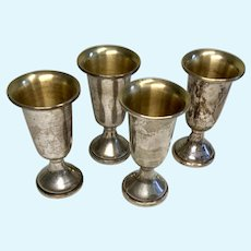 "Set of 4 Sterling Silver Miniature 3"" Doll Size Vase Urn Trophy Cup Cordial"