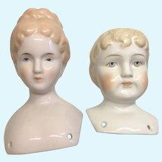 2 Vintage Artist China Doll Shoulder Head