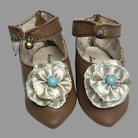 Excellent Brown Leather Blue Rosettes Pointy Toe Artist Doll Shoes