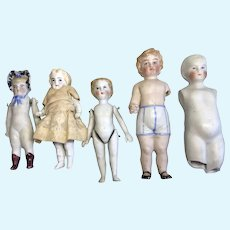 5 Antique German All Bisque Doll Fix Up Repair Parts