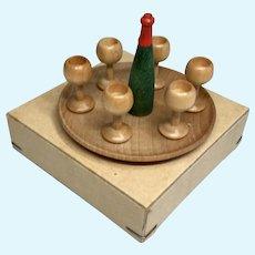 German Wood Wine Set Tray Original Box Vintage Erzgebirge Miniature Dollhouse Doll