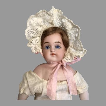 Closed Mouth Antique German Bisque Turned Shoulder Head Doll