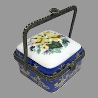 Lovely Miniature Porcelain Box with Handle Doll Size Fashion Dresser Accessory