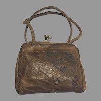 Antique Leather Doll Purse Miniature Tooled Face