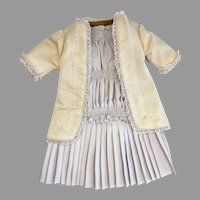 Beautiful 2 Piece Hand Made Pleated Dress and Jacket for Antique Doll