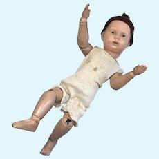 Fun Spring Jointed Wood Schoenhut Antique Doll 1911
