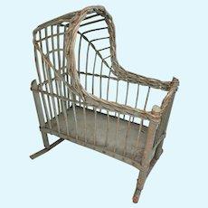 Primitive Wicker Baby Doll Rocker Cradle Vintage Crib