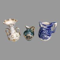 3 Miniature French German Doll or Dollhouse Porcelain Bisque Vintage Pitcher Vase