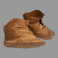 Early No Heel Soft Leather Antique Doll Boots Shoes