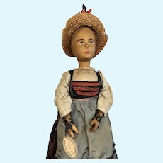 Tagged Wood Carved Hair Bun All Original Clothes Vintage Jointed Swiss Doll