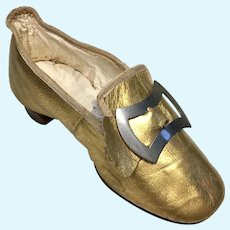 Excellent Single Antique Leather Shoe for Old Woman in The Shoe Doll Group or Project