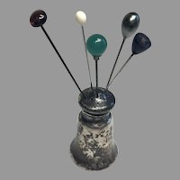 Miniature Sterling Silver Faux Hatpin Holder Doll Size 5 Vintage Hat Pins