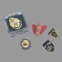 5 Vintage Doll Miniature Pin UFDC German Enamel Kewpie