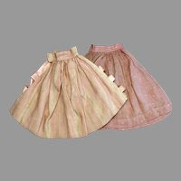2 Vintage Doll Skirt Pink Stripe Dot