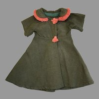 Stylish Vintage Doll or Teddy Bear Dress Coat Fringe Trim