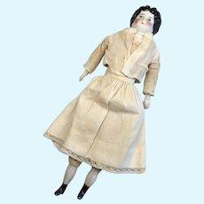 High Brow German China Head Antique Doll Red Polka Dot Dress