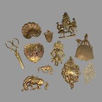 11 Vintage Metal Ornamental Pieces for Doll Box Presentation Craft Holiday Wreath