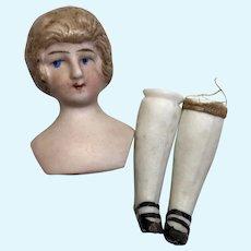 German Bisque Dollhouse Doll Head Feet Shoes