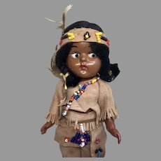 Vintage 1950s Hard Plastic Ginny Type Native American Indian Googly Doll Original Clothes
