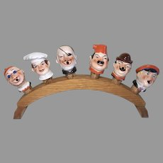 Amazing 6 German Character Man Half Doll Liquor Wine Pourer Antique Set Wood Stand