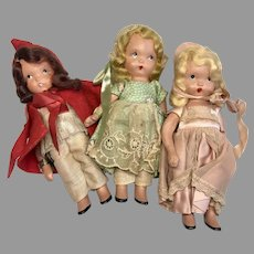 3 Vintage All Bisque Nancy Ann Storybook Doll Little Red Riding Hood Miss Muffet Bo Peep