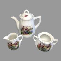 German Child Doll Tea Set Children Playing Jump Rope Antique Porcelain Teapot Creamer Sugar