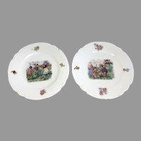 2 Children Dog Playing German Antique Doll Child Porcelain Dish Plate Set Tea Party