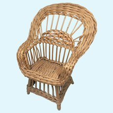 CLEARANCE SALE Vintage Wicker Wood Doll Chair