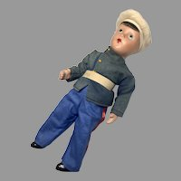 Vintage Military All Original Boy Soldier Composition Doll