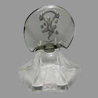 Vintage Czech Figural Dancing Lady Stopper Perfume Bottle Cut Glass