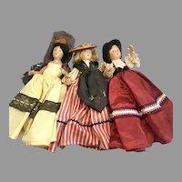 3 Pretty Vintage Composition All Original Costume Doll Hat Bonnet Mantilla