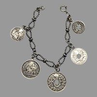 Vintage French Silver Coin Charm Bracelet Fashion Doll Necklace Accessory